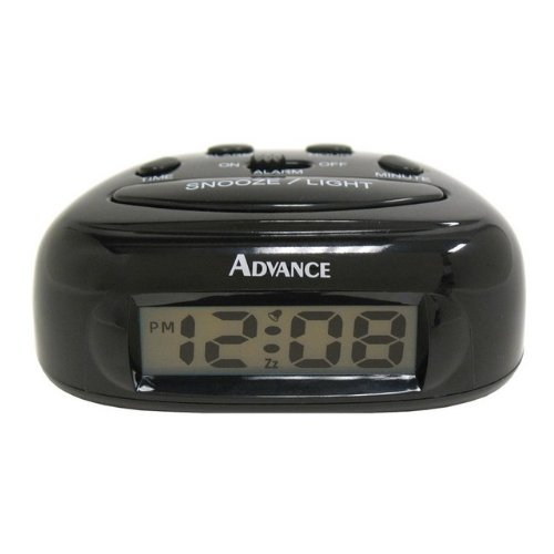 Geneva Clock Company Black LCD Bedside Alarm Clock