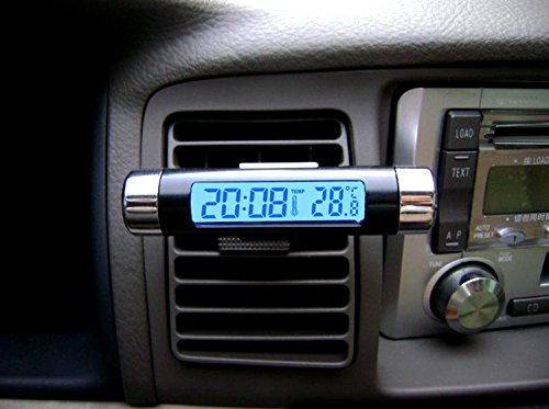 Goliton? Air Outlet Clip Type Auto Car Electronic Clock Temperature Meter Thermometer