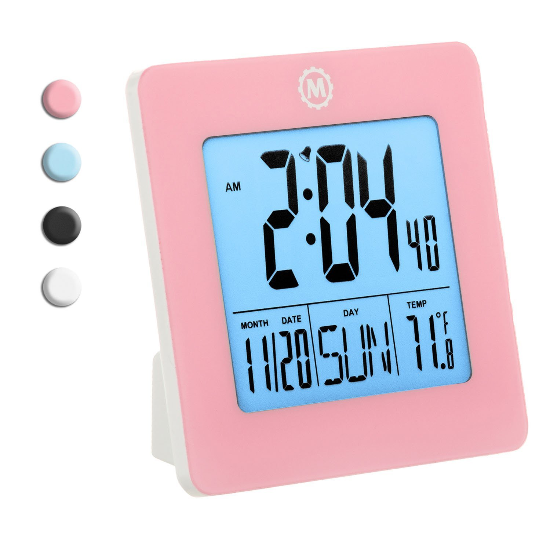 MARATHON CL030050PI Digital Desktop Clock with Day, Date, Temperature, Alarm and Backlight. black - Batteries Included