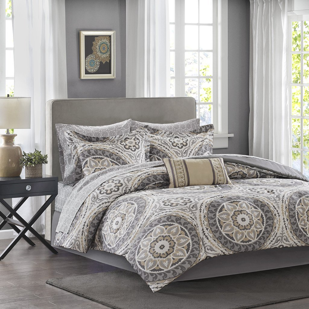 Madison Park MPE10-154 Essentials Serenity Complete Bed & Sheet Set Cal King Taupe,Cal King