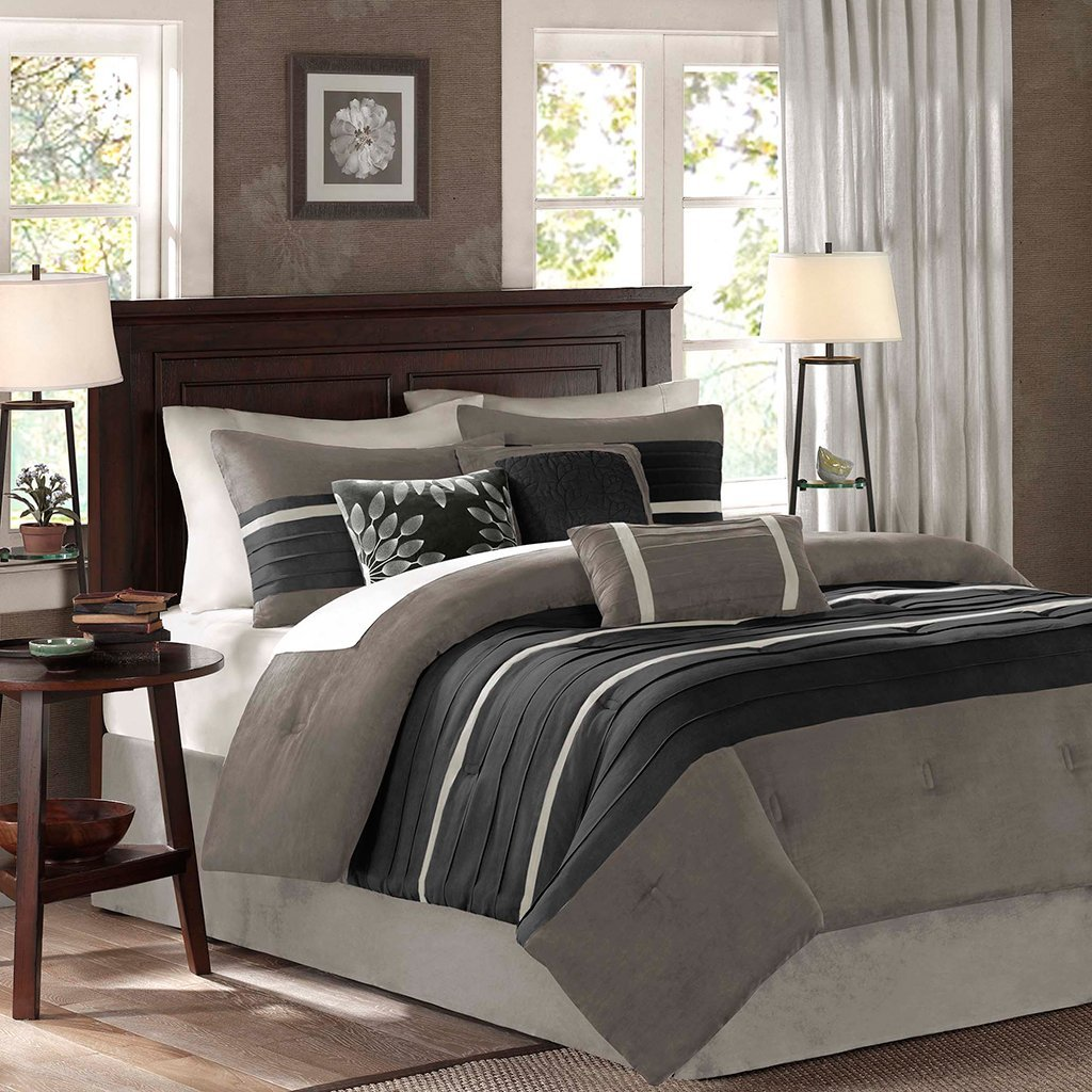 Madison Park Palmer 7 Piece Comforter Set, Cal King, Black/Gray