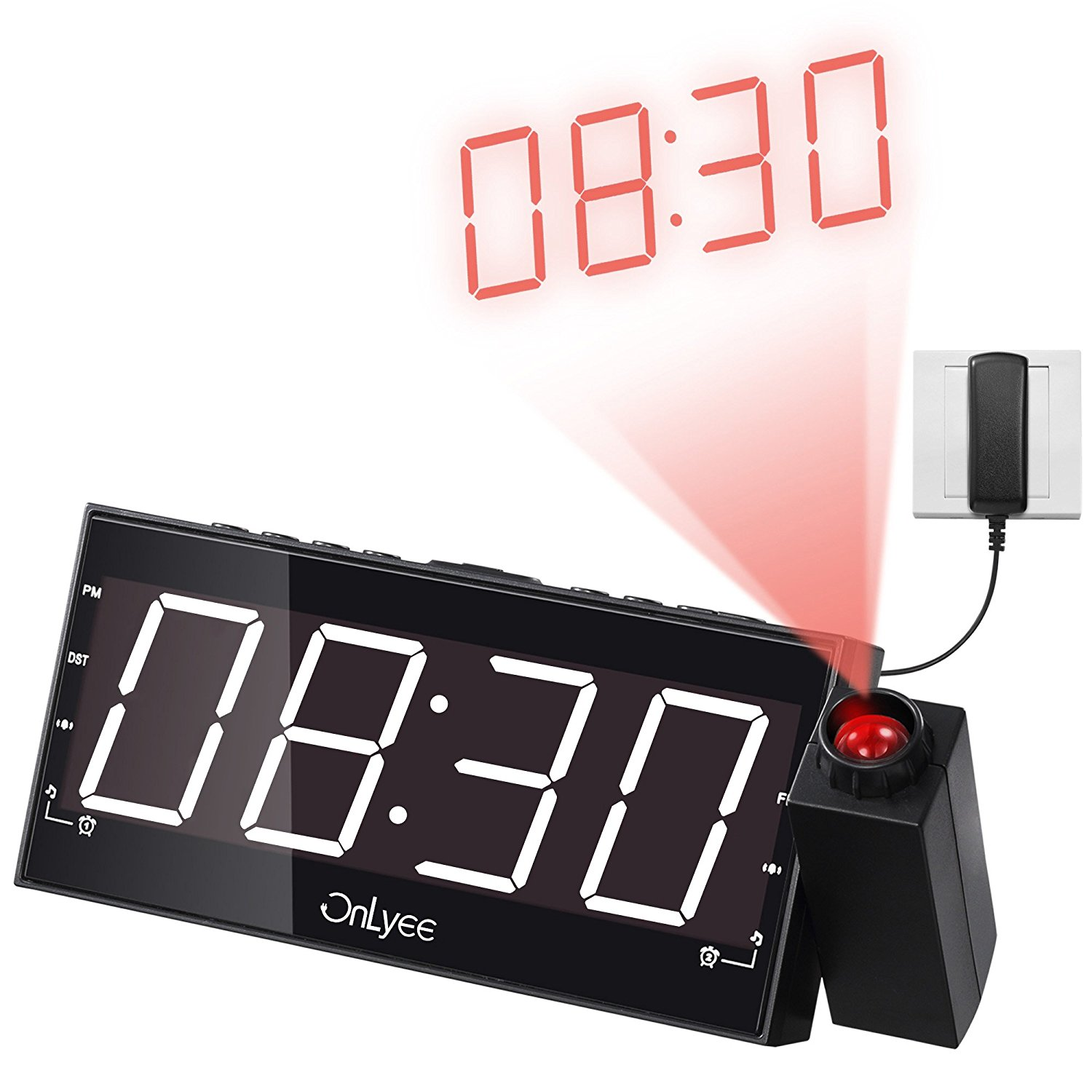 OnLyee Digital LED Dimmable Projection Alarm Clock Radio with AM/FM,USB Charging Port (WHITE)