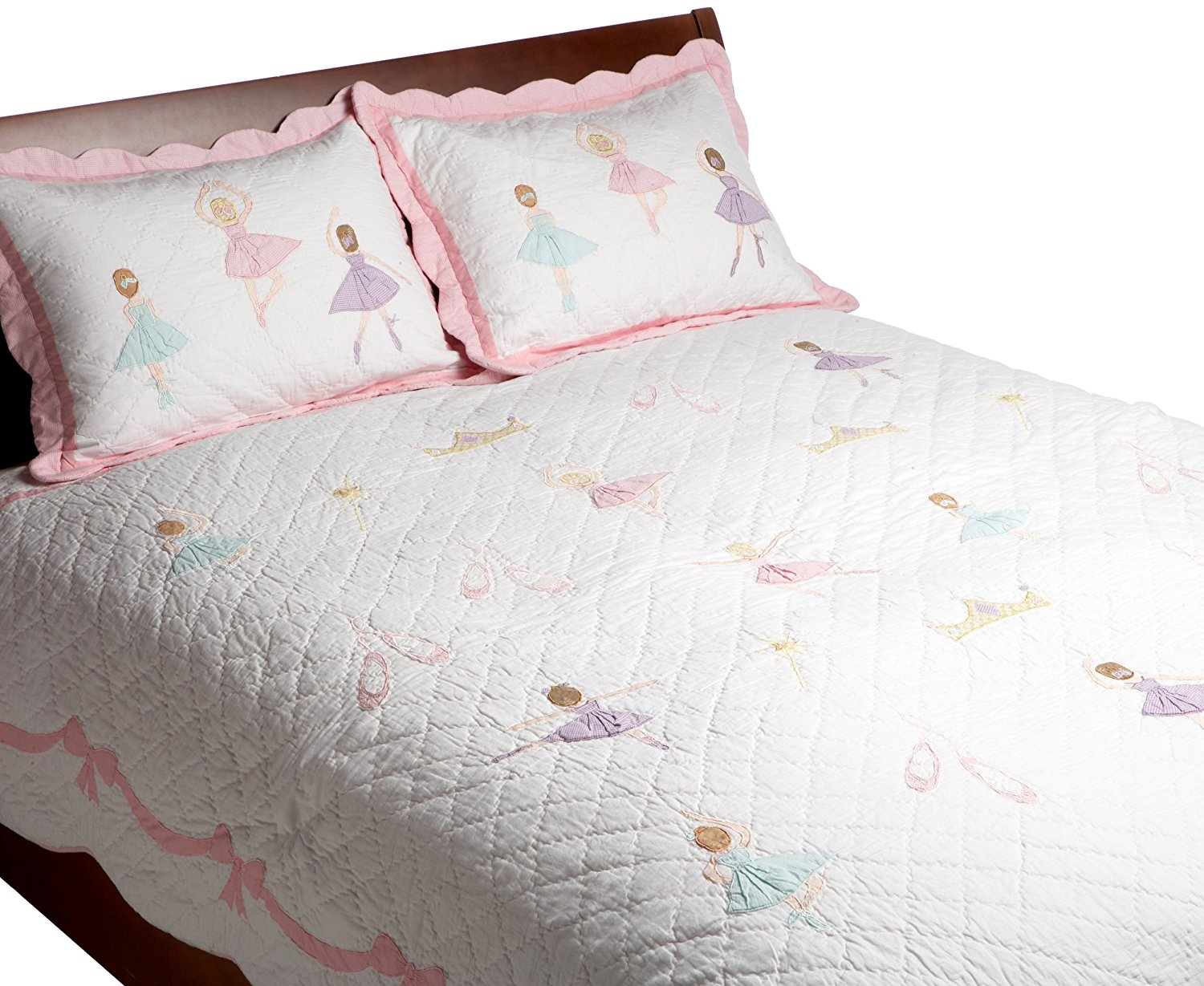 Pem America, Ballet Lesson Collection, Queen 3-Piece Quilt Set, Pink