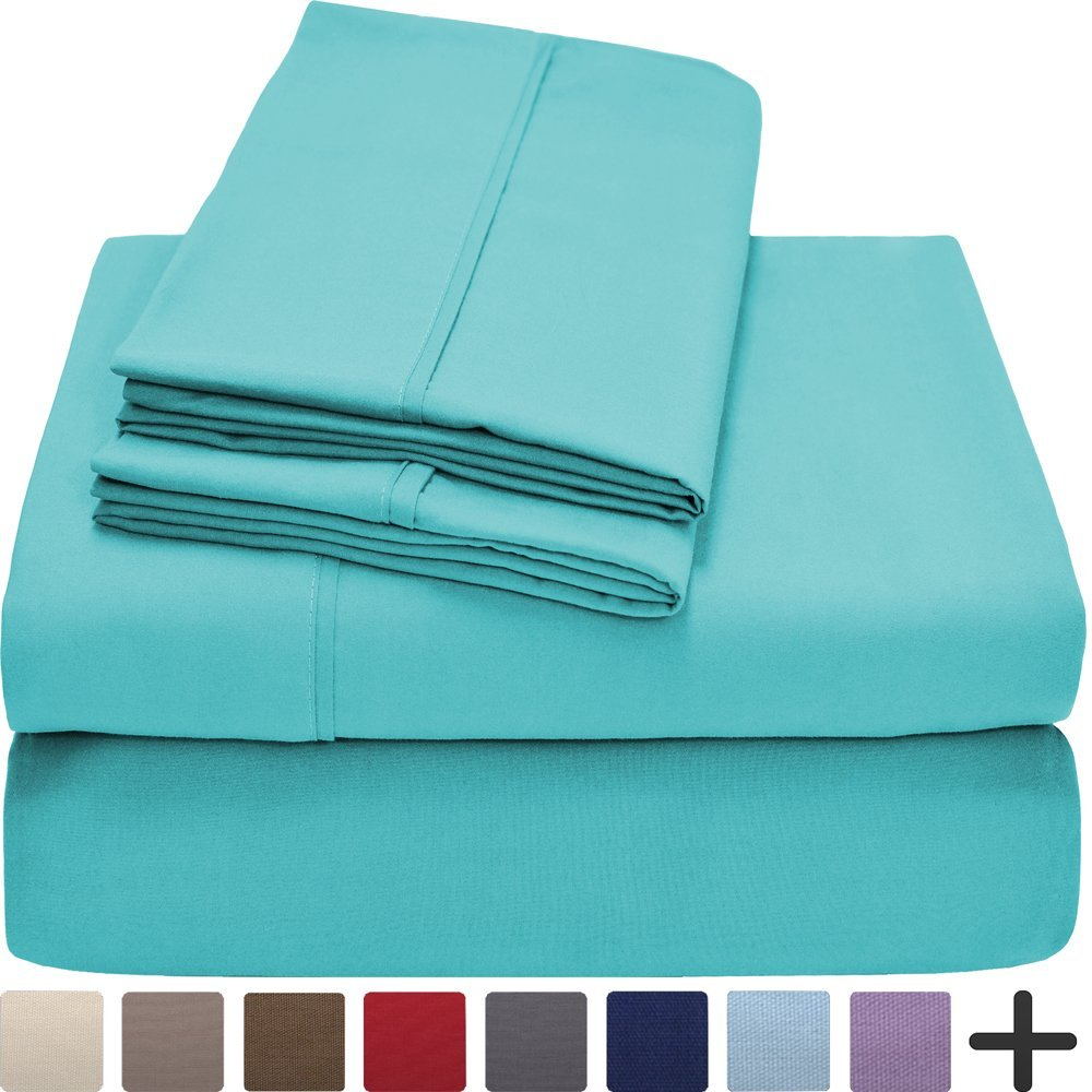 Premium 1800 Ultra-Soft Microfiber Collection Queen Sheet Set, Hypoallergenic, Easy Care, Wrinkle Resistant, Deep Pocket (Queen, Turquoise)