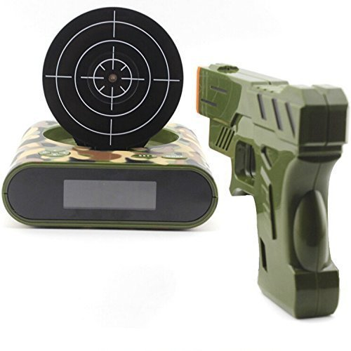 Premium and Funny Target Alarm Clock With Plastic Gun, Infrared Laser and Realistic Sound Effects-Camouflage