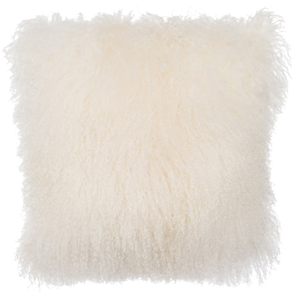 SLPR Mongolian Lamb Fur Throw Pillow Cover (16'' x 16'', Natural) | Real Fur Decorative Cushion Cover Pillow Case for Living Room Bedroom