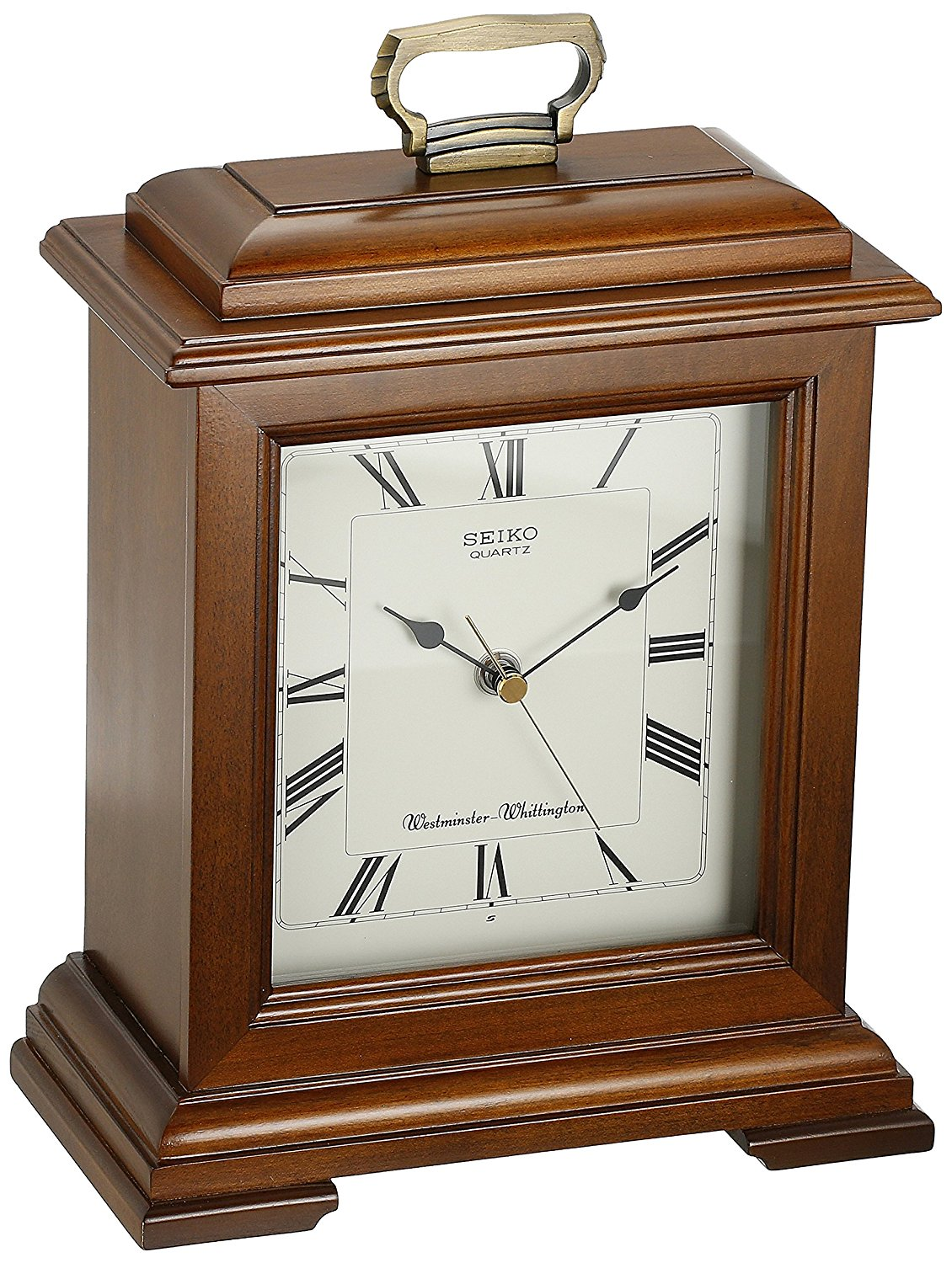 Seiko Mantel Chime Carriage Clock Cherry Finish Solid Wood Case