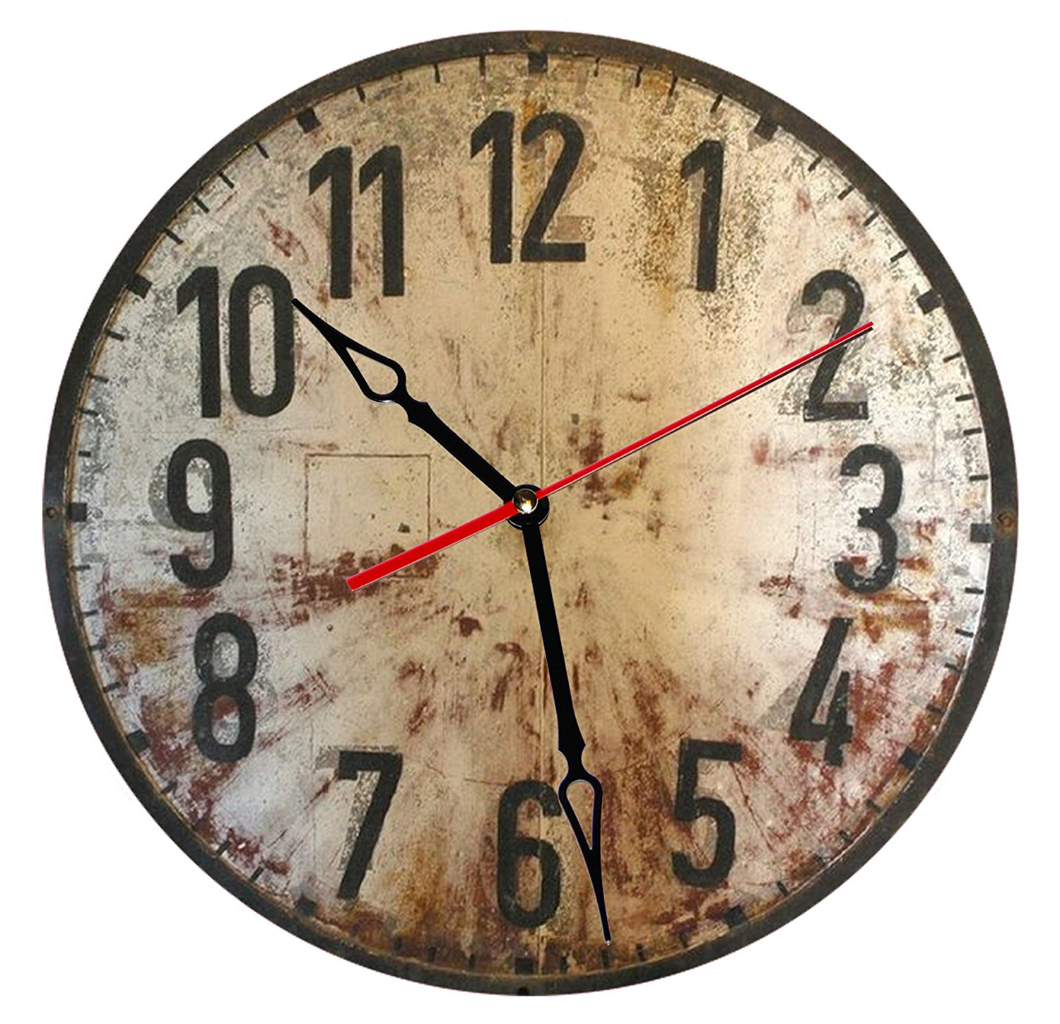 """SofiClock 12"""" Vintage Wall Clock With Arabic Numerals, Best Wooden Decor"""