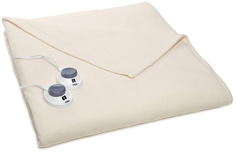 Soft Heat Luxury Micro-Fleece Low-Voltage Electric Heated Queen Size Blanket, Natural