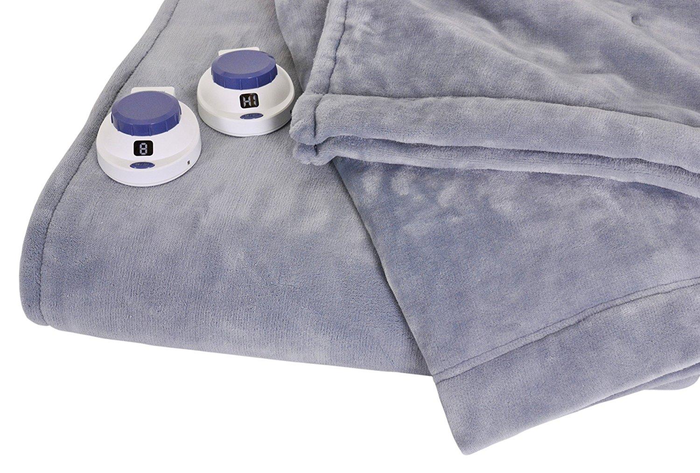 SoftHeat Luxurious Macromink Fleece Low-Voltage Electric Heated Blanket, Queen Size, Blue