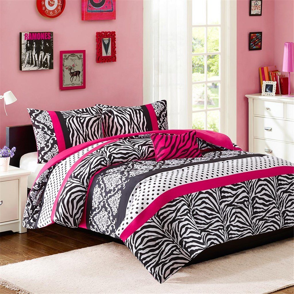 Teen Girl Hot Pink Black White Bedding Comforter Damask Zebra QUEEN Bedspread Set + 2 Shams + Adorable Throw Pillow + Home Style Sleep Mask Polka Dot Fuchsia Paris Comforters Sets for Girls Kids