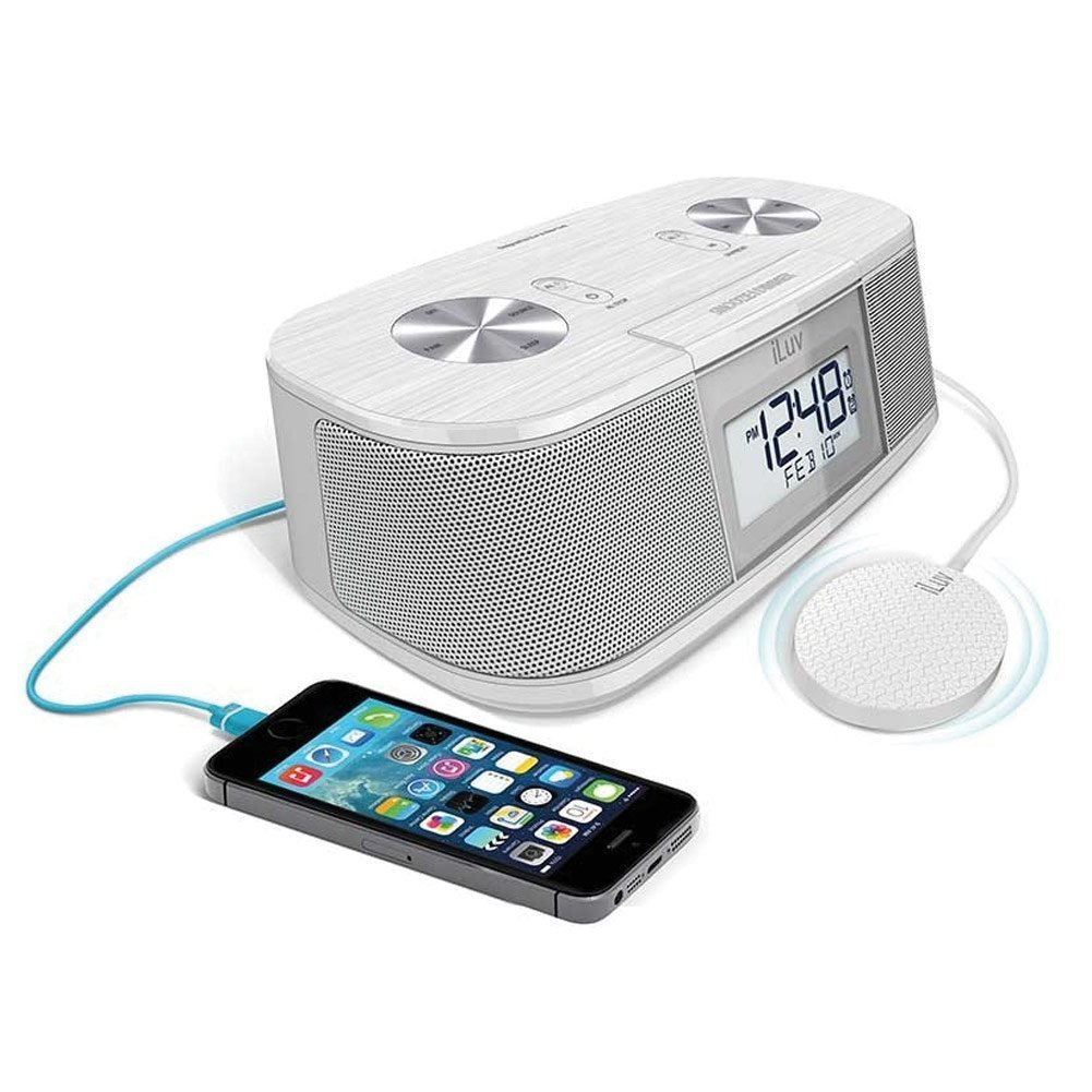 TimeShaker Micro by iLuv (Dual Alarm Clock Bluetooth FM Stereo Clock Radio with Bed Shaker Alarm & USB Charging Port) for Apple iPhone, iPad, Samsung, LG, HTC, Google and Other Bluetooth Devices