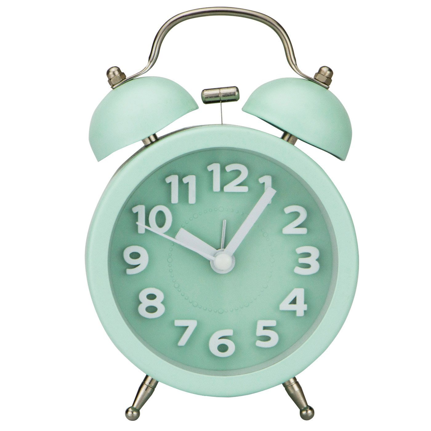 """[Upgrade Version] PiLife 3"""" Mini Non-ticking Vintage Classic Bedside /Table Alarm Clock with Backlight, Battery Operated Travel Clock, Round Twin Bell Loud Alarm Clock( 3D Mint Green)"""