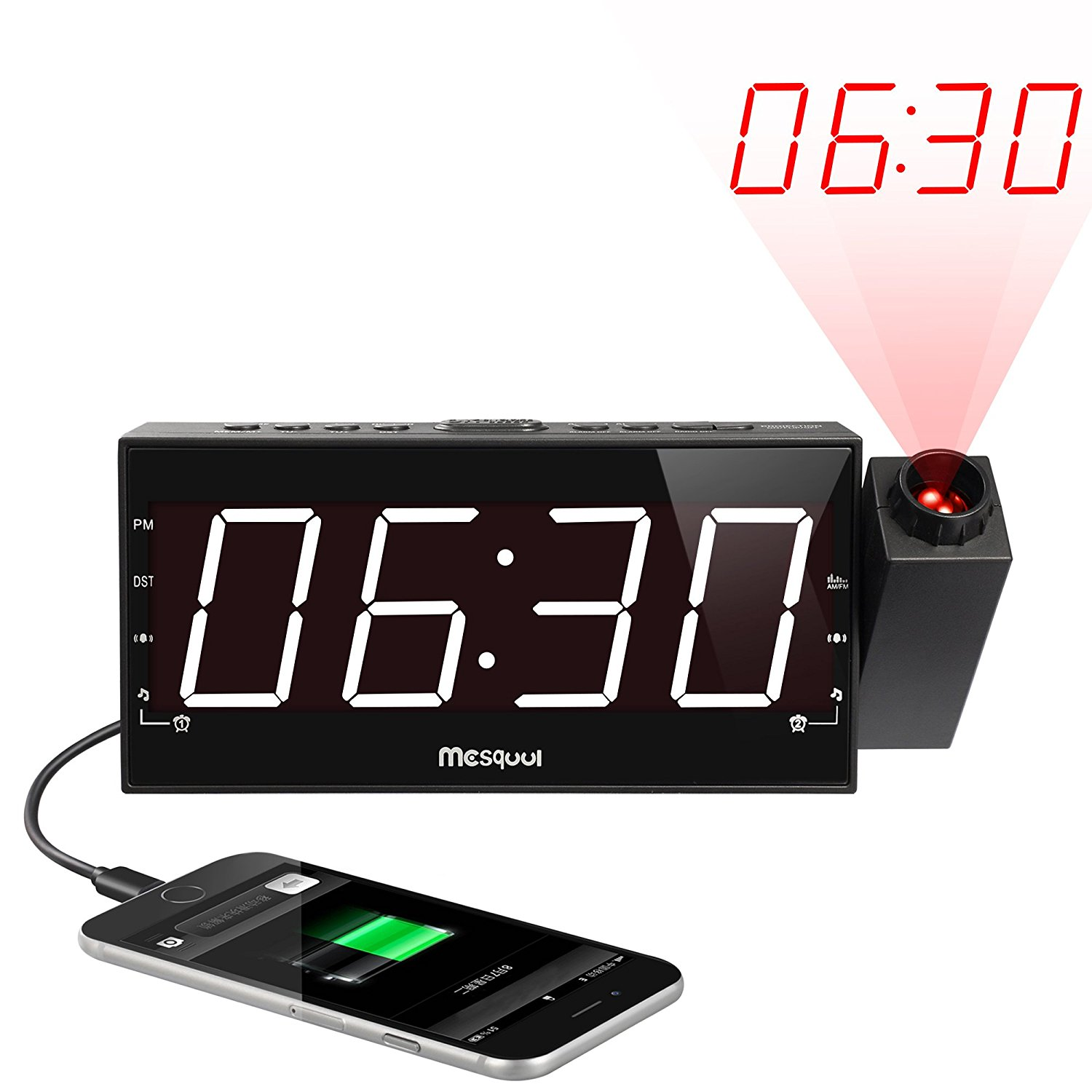 """(Upgraded Version)Mesqool AM/FM Digital Dimmable Projection Alarm Clock Radio with 1.8"""" LED Display,USB Charging,Dual Alarm,Battery Backup"""