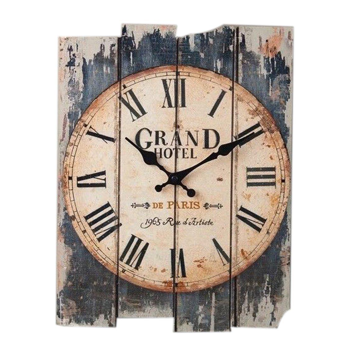 Wall Clock Vintage, Petforu 30x40cm Silent Clock Rectangle [Wooden] Roman Numeral Design - GRAND HOTEL