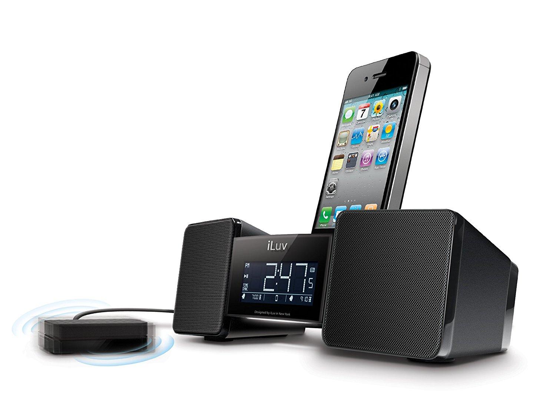 iLuv IMM155BLK Vibro II Alarm Clock 30-Pin Speaker Dock with Bed Shaker (Black) - old Model