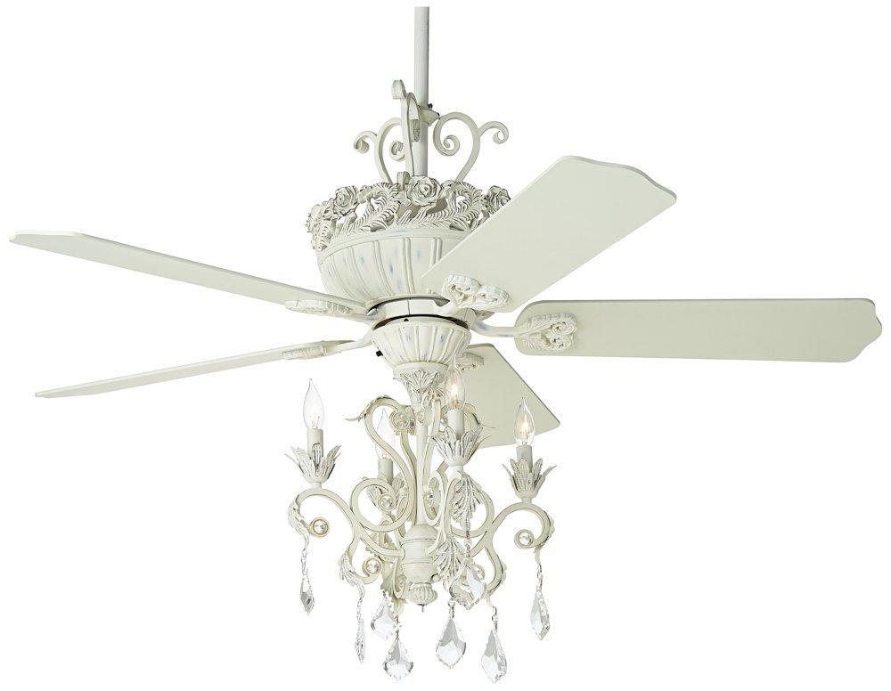 """52"""" Casa Chic Rubbed White Chandelier Ceiling Fan"""