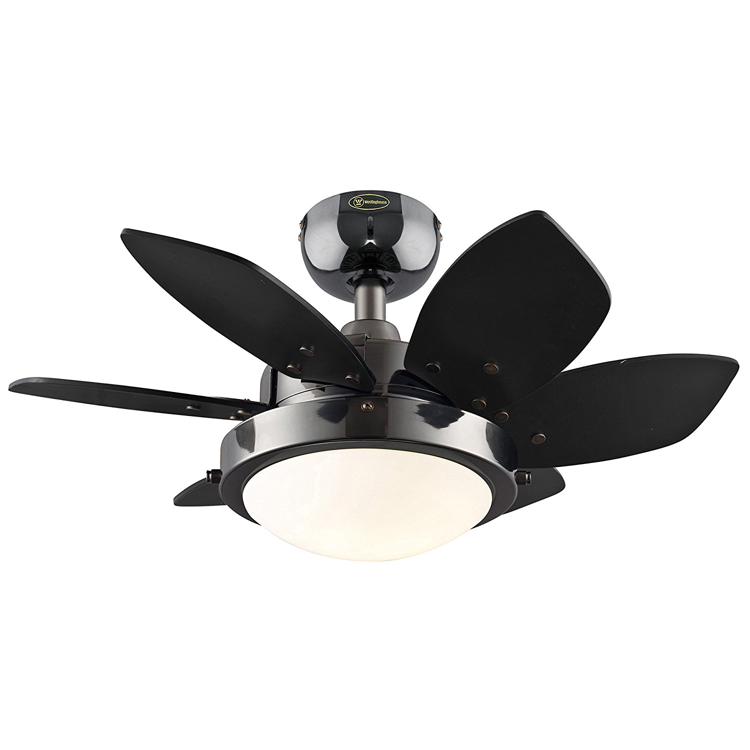 7224300 Quince 24-Inch Gun Metal Indoor Ceiling Fan, Light Kit with Opal Frosted Glass