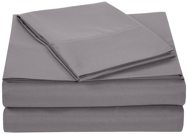 AmazonBasics Microfiber Sheet Set - Twin Extra-Long, Dark Grey