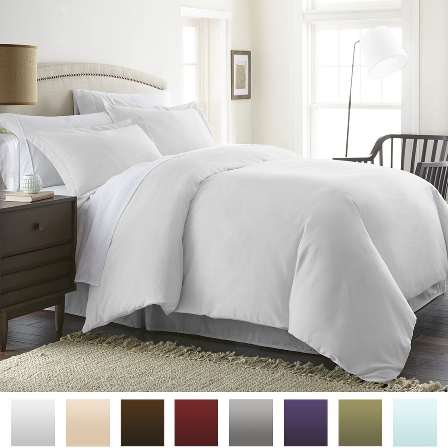 Beckham Hotel Collection Luxury Soft Brushed 1800 Series Microfiber Duvet Cover Set - Hypoallergenic - King/Cal King, White