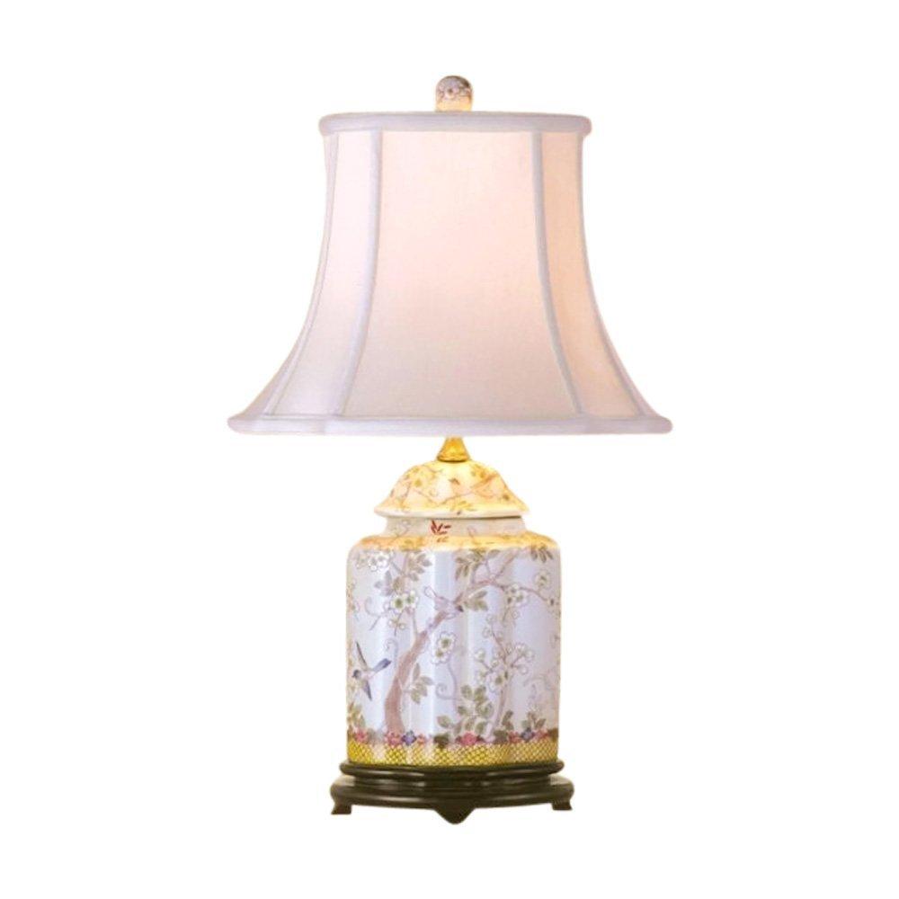 "Chinese Porcelain Scallop Ginger Jar Table Lamp Bird Floral Motif 22"""