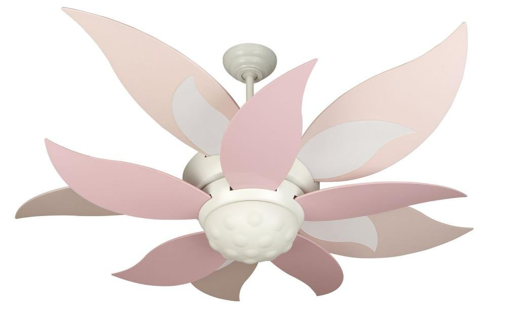 "Craftmade BL52W, Bloom White Kids 52"" Ceiling Fan w/ Light, Remote Control & BBL52-PNK Blades"