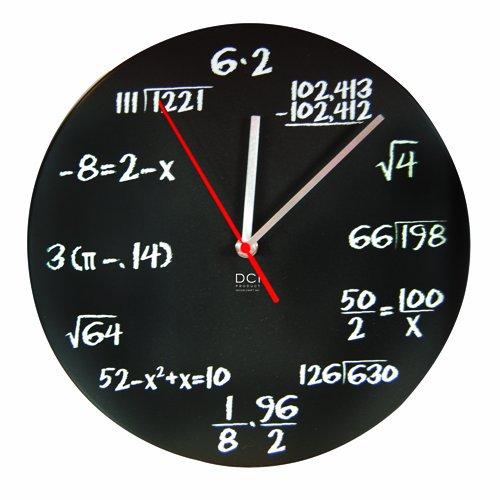 "DCI Matte Black Powder Coated Metal Mathematics Blackboard Pop Quiz Clock, 11-1/2"" Diameter"