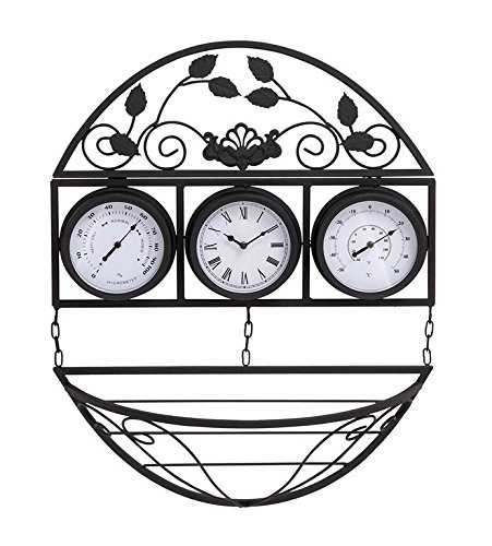 Deco 79 35421 Metal Outdoor Clock Thermometer, 21 by 25-Inch