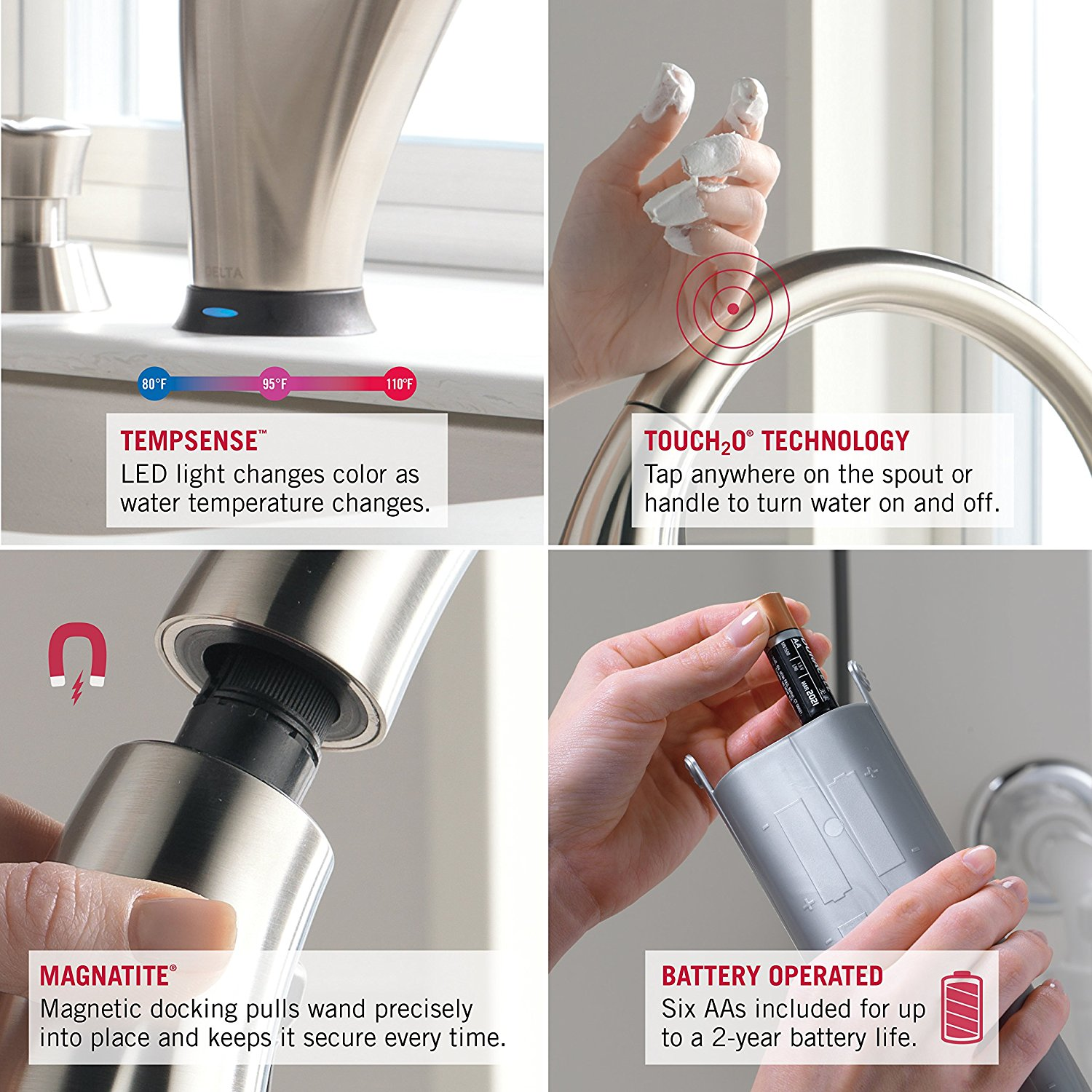 Delta Faucet 9192T-SSSD-DST Addison Single Handle Pull-Down Kitchen Faucet with Touch2O Technology and Soap Dispenser, Stainless