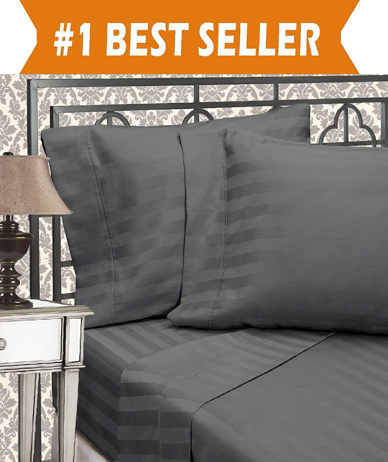 Elegant Comfort Best, Softest, Coziest 6-Piece Sheet Sets! - 1500 Thread Count Egyptian Quality Luxurious Wrinkle Resistant 6-Piece DAMASK STRIPE Bed Sheet Set, King Grey
