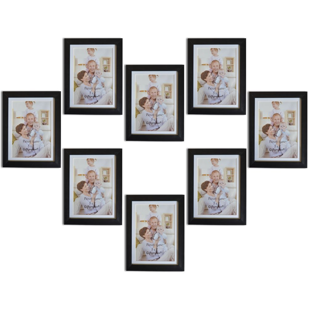 Giftgarden 5 by 7 Inch Picture Frame Set for Photo Display 5x7 PVC lens, 8 pcs Black