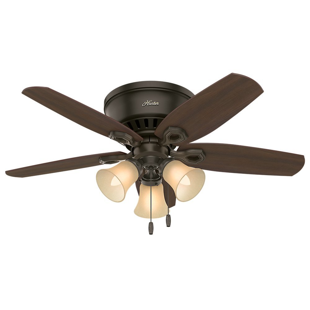 """Hunter 51091 42"""" Builder Low Profile New Ceiling Fan with Light, Bronze"""