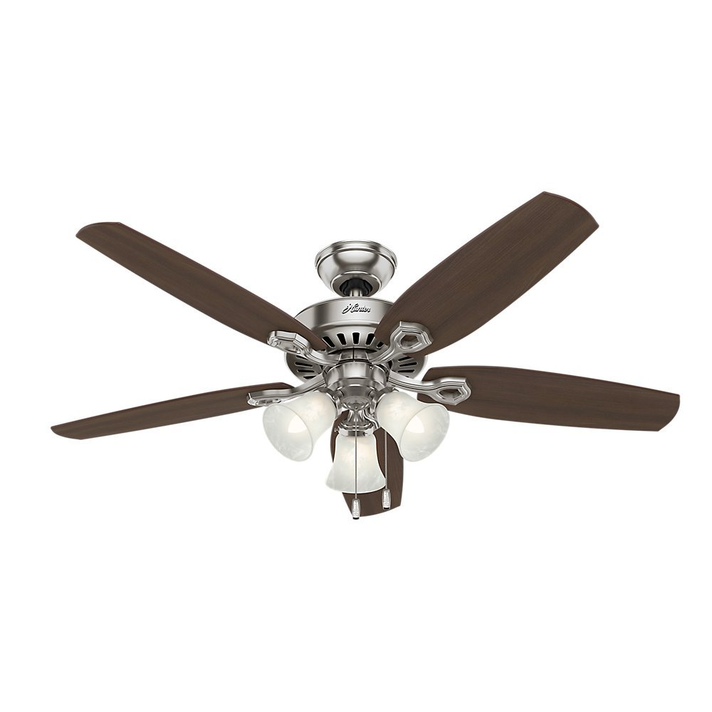 Hunter 53237 Builder Plus 52-Inch Ceiling Fan with Five Brazilian Cherry/Harvest Mahogany Blades and Swirled Marble Glass Light Kit, Brushed Nickel