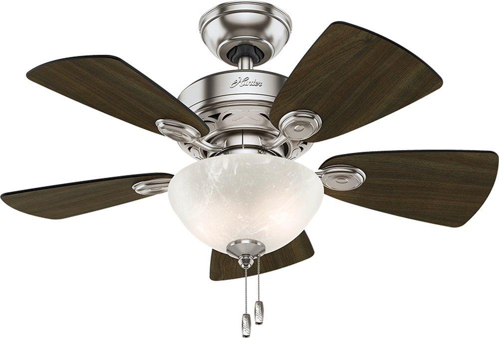 """Hunter Fan Company 52092 Watson Ceiling Fan with Light, 34""""/Small, Brushed Nickel"""
