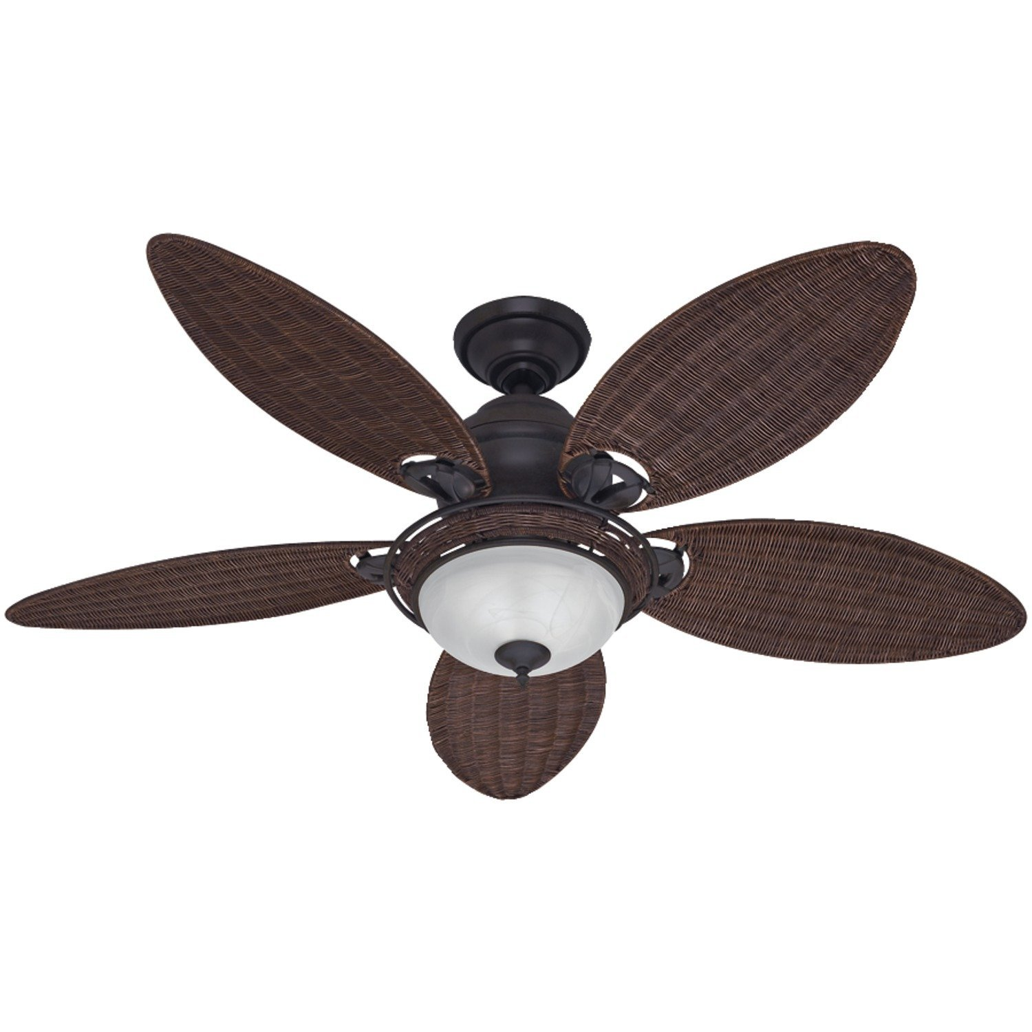 Hunter Fan Company 54095 Caribbean Breeze 54-Inch Ceiling Fan with Five Antique Dark Wicker Blades and Light Kit, Weathered Bronze