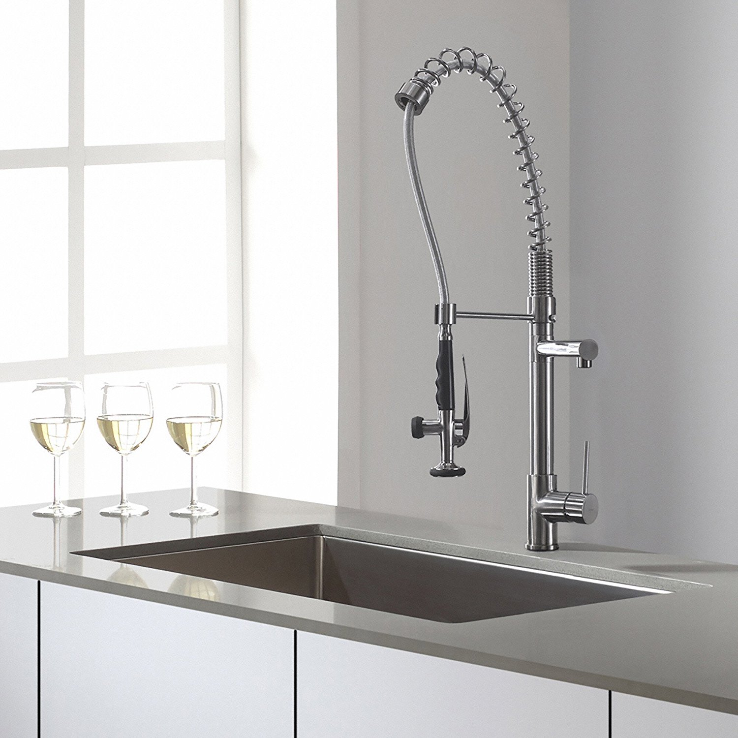Kraus KPF-1602 Single Handle Pull Down Kitchen Faucet Commercial Style Pre-rinse in Chrome