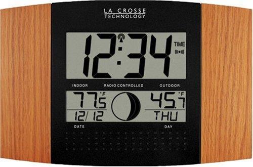 La Crosse Technology WS-8117U-IT-OAK Atomic Wall Clock with Outdoor Temperature