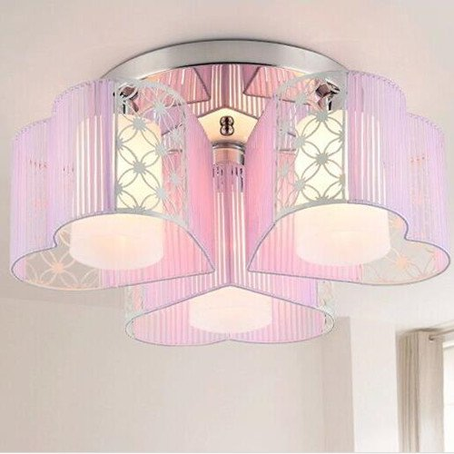 LightInTheBox Modern Art Deco Fabric Chandelier Pink Pendant Flush Mount Ceiling Fixtures Light 3 Lamps For Dining Living Study Rooms Light Source= White