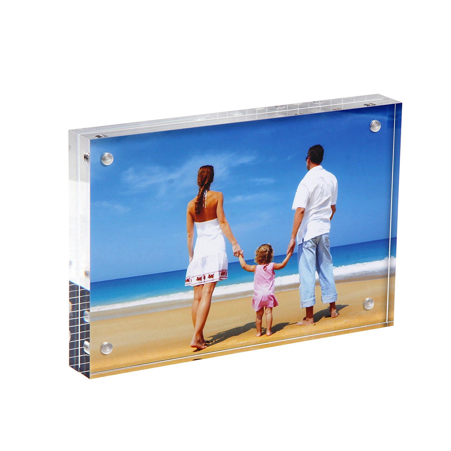 """Niubee Clear Acrylic Photo Frame 4x6"""" Gift Box Package, Double Sided Magnetic Acrylic Block Picture Frames, Frameless Desktop Postcard Display"""