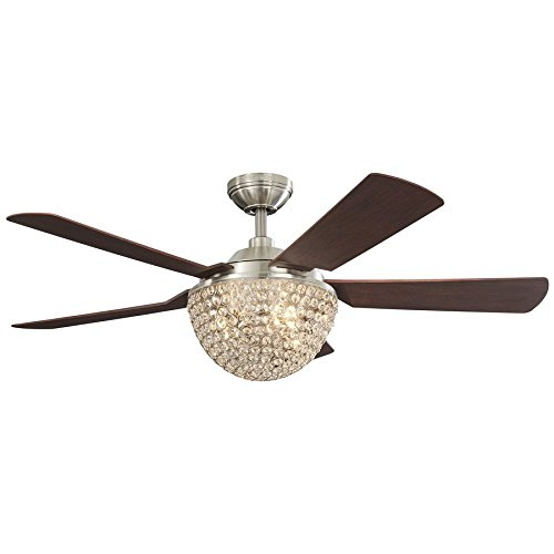Parklake 52-in Brushed Nickel Downrod Mount Indoor Ceiling Fan with Light Kit and Remote