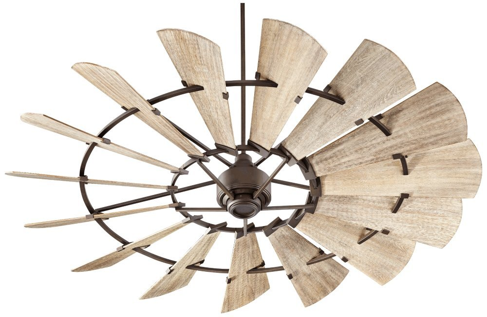 Quorum 97215-86 Windmill Ceiling Fan in Oiled Bronze with Weathered Oak Blades