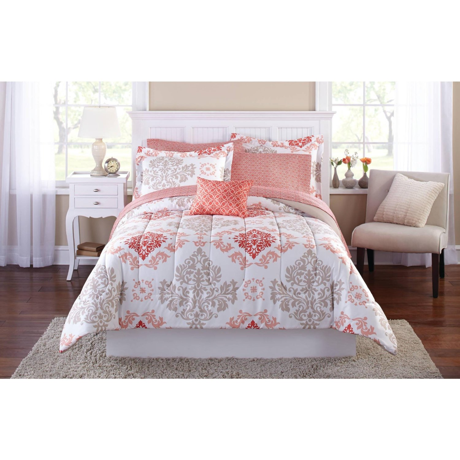 Teen Girls Pink Coral Damask 6 Piece Comforter Set, TWIN / TWIN XL Size Bed in A Bag
