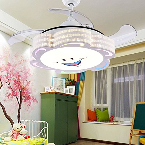 TiptonLight Cute White Retractable Ceiling Fans Kids-36 Inch with Cartoon Smile Three Change Colors-4 Leaves with Remote Control Simplicity Style for Bedroom,Study and Children's Room