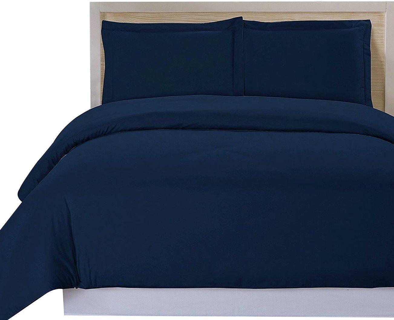 Utopia Bedding 3 Piece King Duvet Cover Set with 2 Pillow Shams, Navy