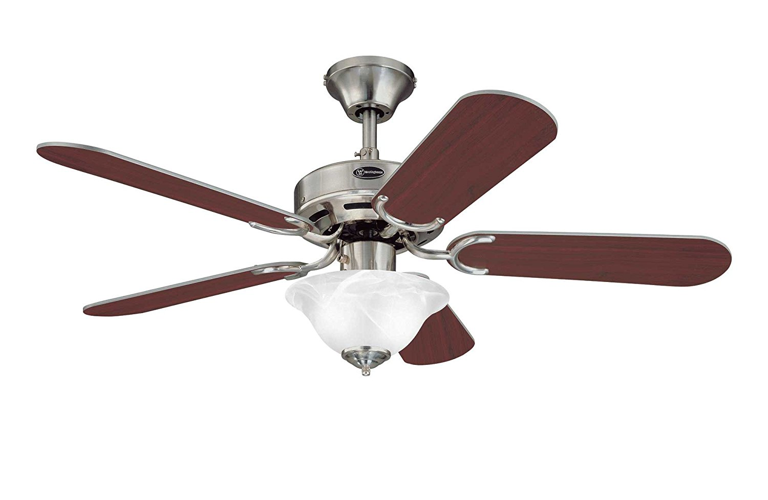 Westinghouse 7877365 Richboro SE Two-Light 42-Inch Reversible Five-Blade Indoor Ceiling Fan, Brushed Nickel with Frosted White Alabaster Glass Bowl