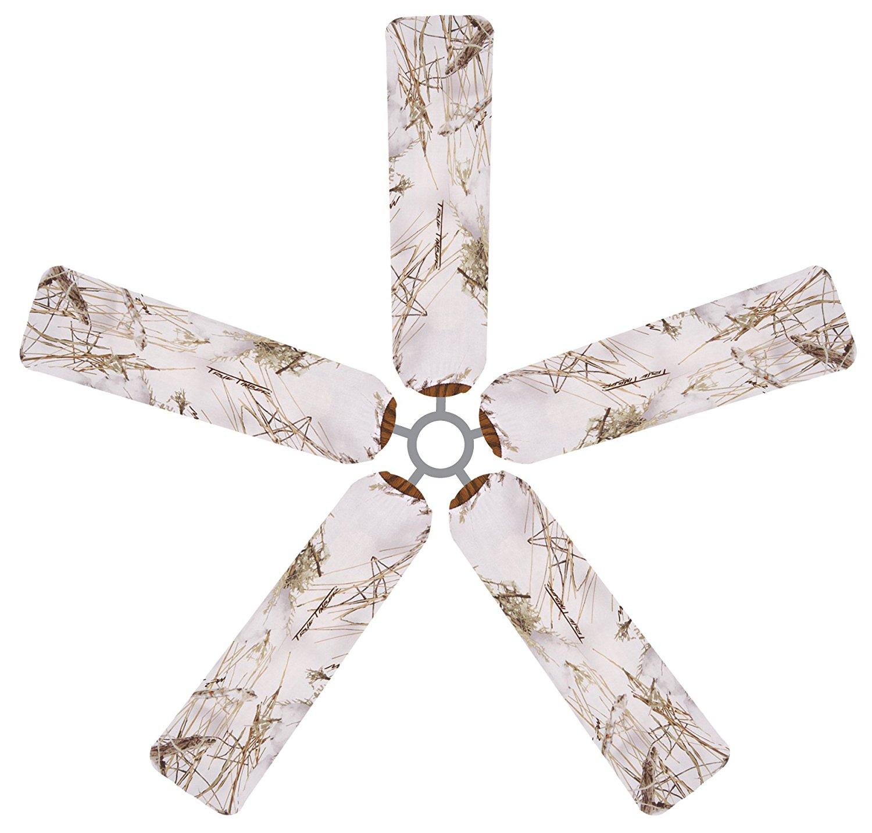 White Camo Ceiling Fan Blade Covers by Fan Blade Designs