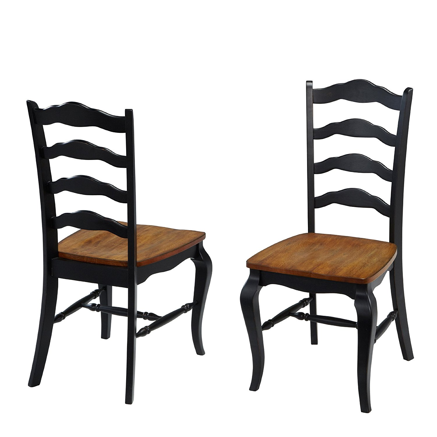 Home Styles 5519-802 The French Countryside Dining Chair Pair, Oak and Rubbed Black