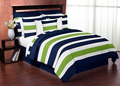 Navy Blue Lime Green and White Stripe 4 Piece Teen Boys Twin Bedding Set Collection