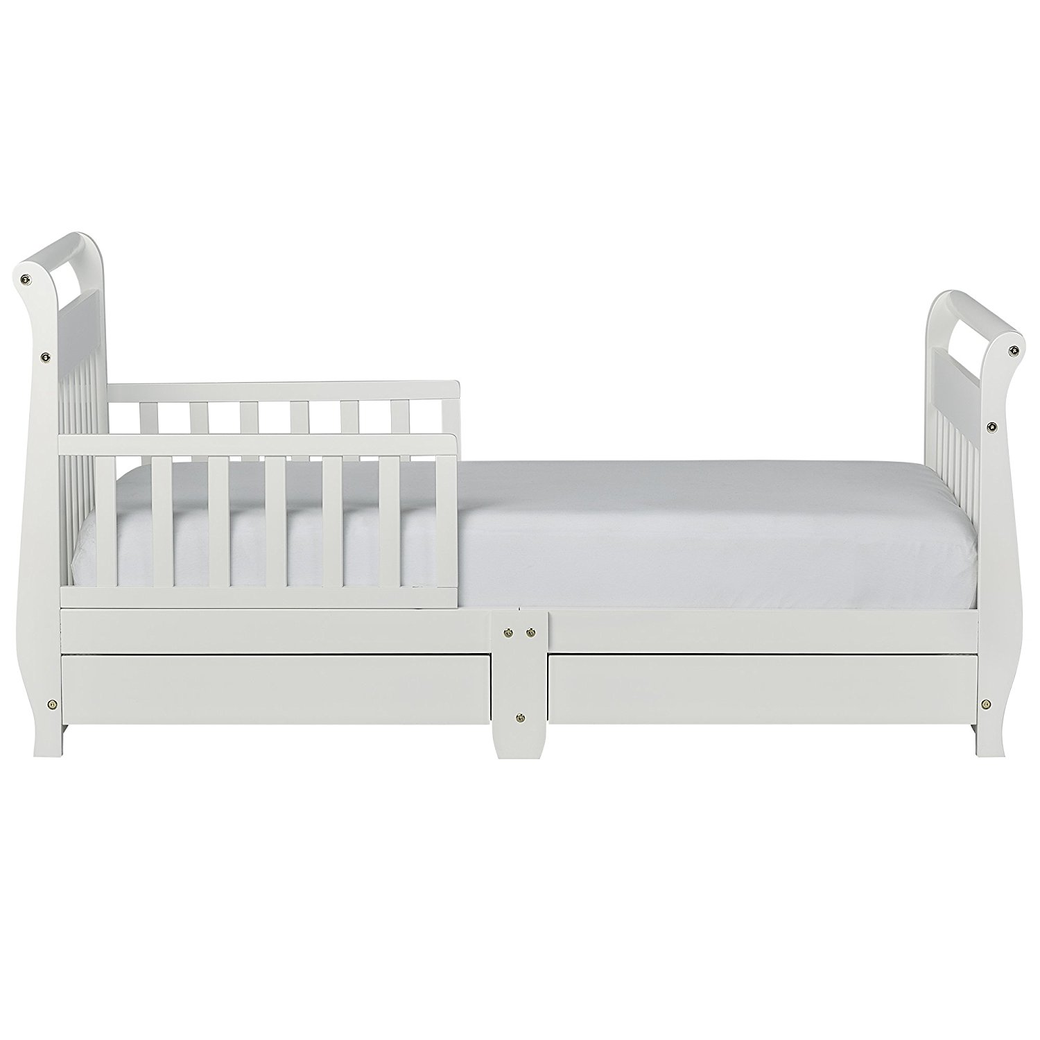 Dream On Me Toddler Bed with Storage Drawer - White