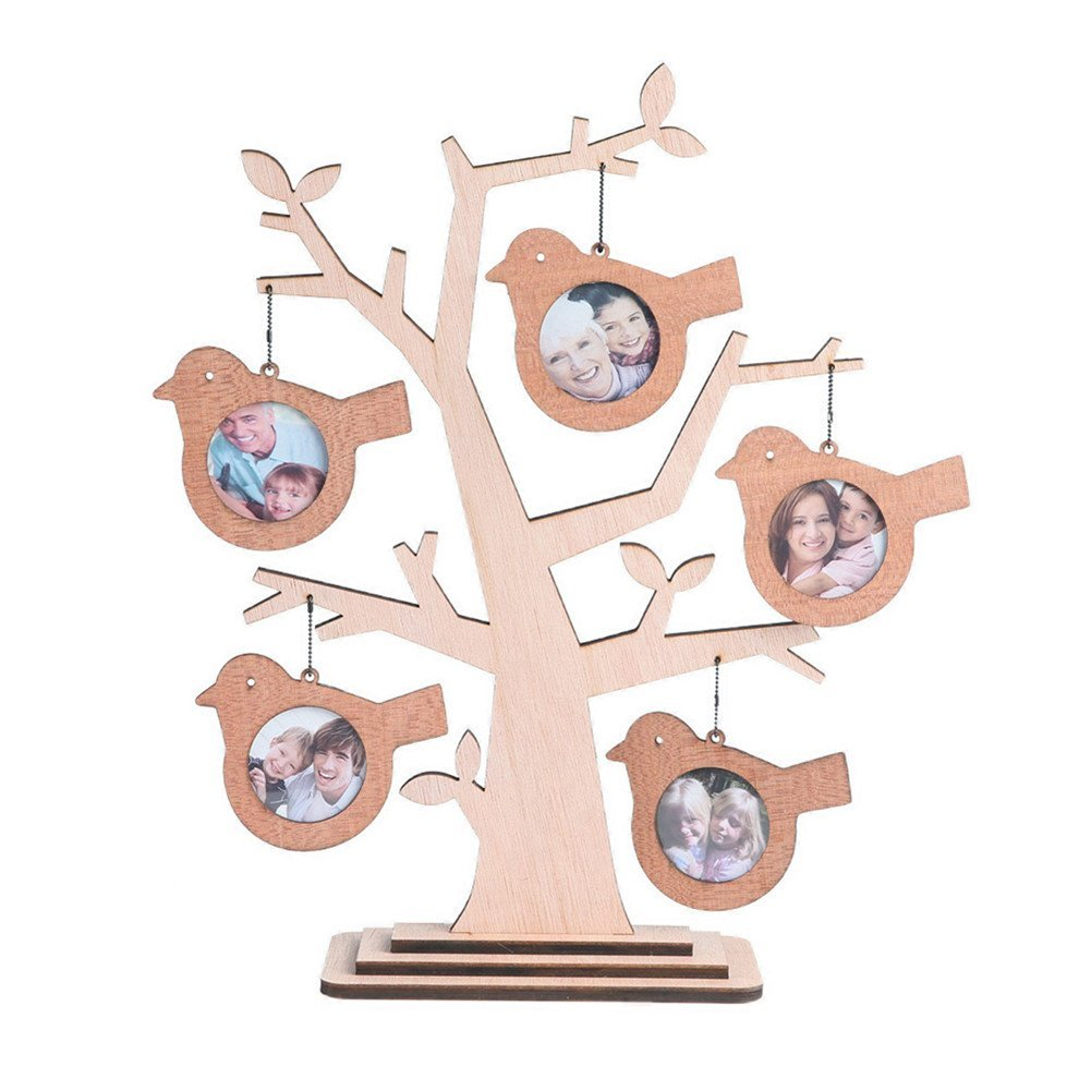 Giftgarden Family Tree Picture Frame Wood Decor Bird Hanging Photo 2x2 inch for Home Gifts